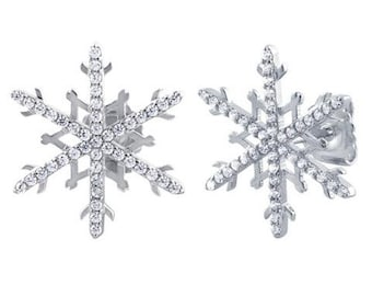 Sterling Silver Unique Snowflake Clear CZ Earrings Mothers Day Jewelry