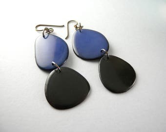 Cobalt Blue and Black Tagua Nut Eco Friendly Earrings with Free USA Shipping #taguanut #ecofriendlyjewelry