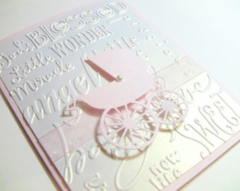 10 3-D Handmade Baby Cards, Congratulations Cards, Baby Shower Thank You Cards, Baby Carriage with Elegant Pearl