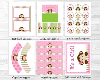 Pink Monkey Baby Shower Party Package / Monkey Baby Shower / Monkey Decorations / Pink & Green / Printable INSTANT DOWNLOAD A336