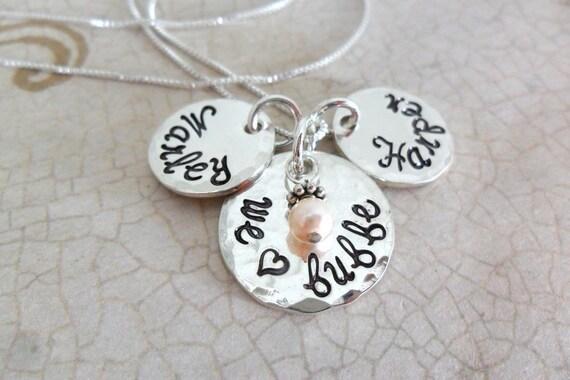Bubbe Necklace | Bubbie Necklace | We love Bubbe | Gift for Grandma | Grandmother's Necklace | Grandma Jewelry | Nana | Granny | Grammy