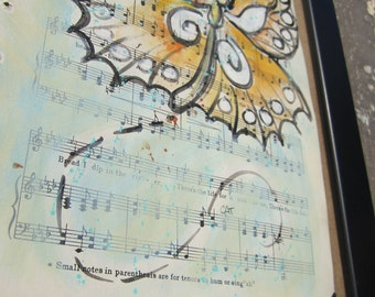 """Butterfly... recycled book art original painting on Antique 1930s sheet music book page titled """"The Vagabond"""", by Cat Seyler designs"""