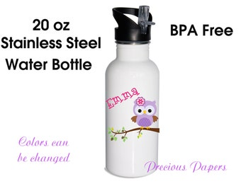 Personalized stainless steel water bottle - Stainless Steel Owl water bottles - Owl metal water bottle