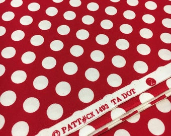 Michael Miller Ta Dot in Red and White. Sold by the half yard.