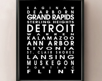 Michigan Bus Roll - MI State Poster