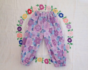 Floral trousers 2 - 3 T years // Summer purple lounge pants retro  UK