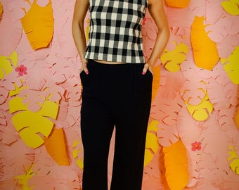 Vintage plad tank top, smocked cotton tank, vintage navy plaid tank top, vintage blouse, summer top, vintage blouse, tops and ts, plaid