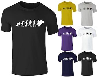 Men's Evolution Of a Biker Motorbike Motorcycle Superbike Racing T Shirt