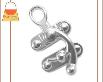 Purse Clasp / Catch Lock, Nickel Finish, 1 Set, Handbag Purse Bagmaking Bag Making Hardware Supplies, CSP-AA001