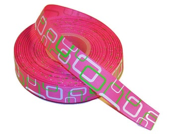 5 YDS - High-Quality White & Lime Green Squares on Pink Grosgrain Ribbon