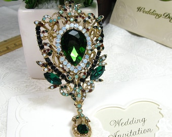 Vintage Style Pin Golden Tone Green Crystal Rhinestone Brooch Pin Dangle Flower Brooch Bridal Wedding Brooch Bouquet Brooch Bridesmaid Gift