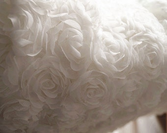 off White Chiffon Rosette Fabric, Photography Prop, wedding table cloth,  wedding decors by the yard