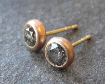 Gray Diamond Earrings , Diamond Studs , Diamond Posts , Red Gold Studs , Diamonds Gold Earrings , Salt and Pepper Diamond Studs