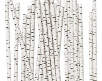 Birch Paper Straws, Tree Straws, Birch Tree Theme, Birch Straws, Wedding Buffet Straws, Nature Theme, Wedding, Party Straws, Birch, 10