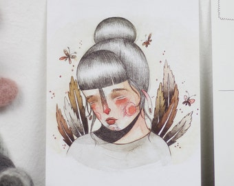 Sad Girl Postcard