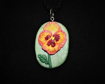 Pansy Polymer Clay Necklace Pendant