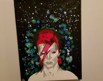 Hand painted David Bowie on Canvas