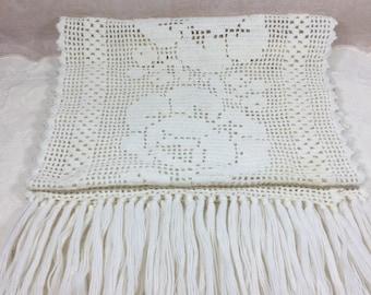 Hand Crocheted Ivory Table Runner
