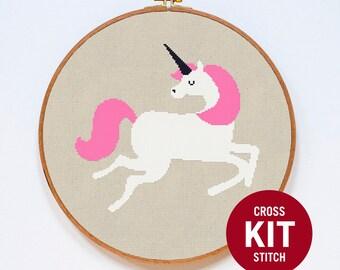 Unicorn Cross Stitch KIT, Cute Unicorn Modern Cross Stitch Kit, Colorful Cross Stitch Gift, Embroidery Kit