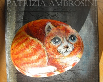 The red cat -  Handpainted rock painting painted stone miniature painted rock pebble fine art