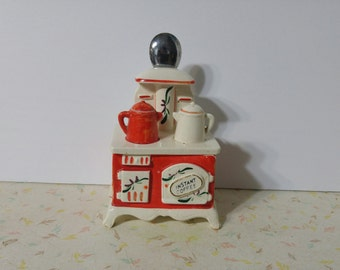 Beautiful Vintage 1950's Relpo Stove Instant Coffee Canister Vintage 1950's Japan Kitchenalia kitsch