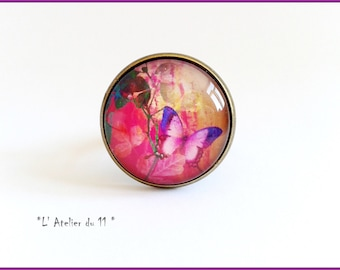 "Ring ""Pink butterfly"" cabochon 20 mm"