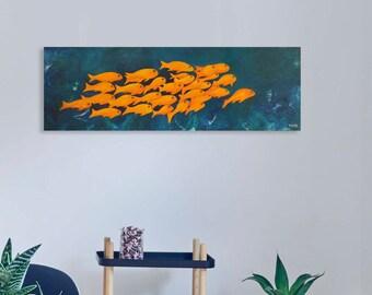 Ocean fish wall art  Fish art  Large canvas art yellow fish Original painting Large wall art Modern art Restaurant wall art Modern wall art