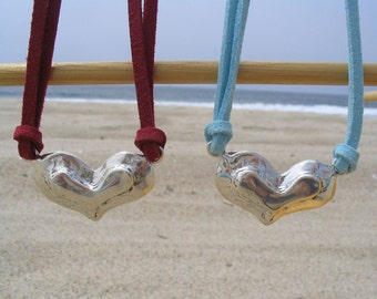 Fat Love Sterling Silver Heart Necklace on Ultrasuede