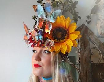 Butterfly Kisses Headdress. Sunflower Headdress.