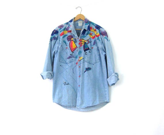Hand Painted Jean Shirt Vintage 90s Button Up Denim Shirt Hipster Oxford Kokopelli Shirt Baggy Southwestern Collar Shirt Size Medium Large