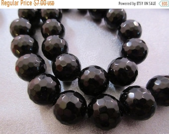 ON SALE 20% OFF Black Onyx Faceted 14mm Round Beads 13pcs