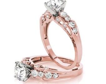 Forever Brilliant Moissanite Verra Diamond Engagement Ring in Rose Gold