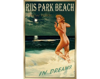 Riis Park Beach Queens New York - Original Marilyn Monroe Travel Poster -available in 4 sizes- New Retro Pin Up Ocean Art Print 175