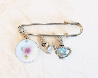 Nina - tea lover's brooch - tea cup pin - charm pin - charm safety pin - tea pot charm - kilt pin