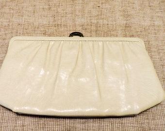 Vintage 1960s Mardone  Handbag Purse Clutch Cream and Gold Tone Hardware