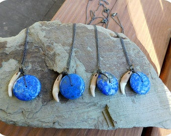 Deal of The Month: Coyote Moon Necklace.  Large Blue Lapis Lazuli Saucer & Genuine Coyote tooth canine necklace. Lycan, Werewolf, Changeling