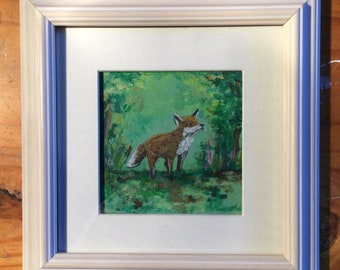 Fox in the green . Framed painting