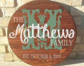 "Family Names Custom Made 18"" Round Wood Name Sign. Handpainted. Custom Name. Family Sign. Wedding Gift."
