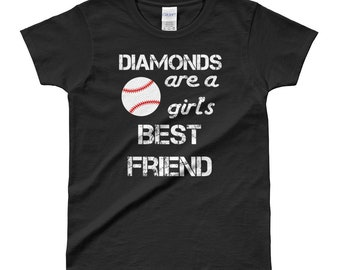 DIAMONDS Are A Girl's Best Friend Baseball Shirt | Baseball Mom Shirts Funny Baseball Tshirt Pink Black Womens Shirts Womens Gift Cute Tee