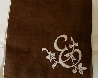 "Vintage Hankie/Hanky Chocolate Rusty Brown and White, Big E, and Vines,""Big E"""