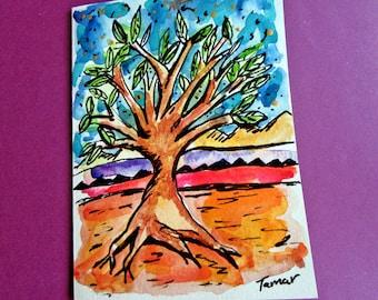 Tree of Life Art, Hand Painted Card, Jewish Gifts, Tree Art, Original Painting, Jewish Cards, Judaica Artwork, Spiritual Art, Handmade Card
