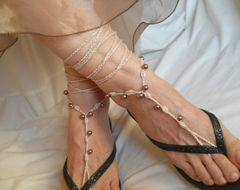 Crochet Barefoot Sandals Ready To Ship Summer Sandles Shoes Beads Victorian Anklet Foot Women Wedding Accessories Bridal Elegant Beach Wear