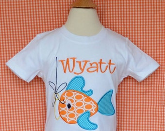 Personalized Fish with Hook Applique Shirt or Bodysuit Boy or Girl