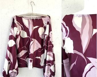 Vintage Burgundy Floral Blouse  * Plum burgundy sirt * Long Sleeve purple Shirt * Hippie Boho  top * Blouse Size Medium M L
