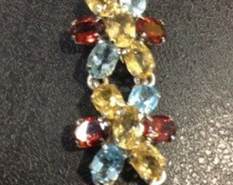 Gemstone bracelet , garnet , citrine and blue topaz
