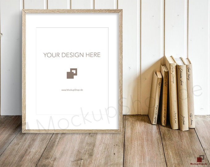 8x10 OLD FRAME MOCKUP wooden vertical / set of 2 / with and without passe-partout  instant download  frame mockup / old wooden frame mockup