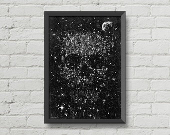 Space skull,galaxy poster,moon,black and white,horror,gothic,space,poster,digital print,wall decor,home decor