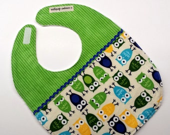 Baby Bib-Baby Boy Bib-Owls-Infant Bib-Toddler Bib