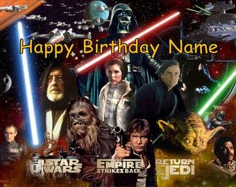 Star Wars Luke Skywalker Darth Vader Leia Edible Image Cake Topper Personalized Birthday 1/4 Sheet