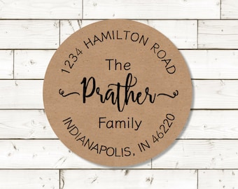 Return Address Sticker,  sheet of 20, custom- 2 inch circle, brown kraft label,  wedding announcements, wedding favor